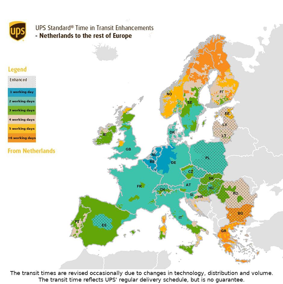 Karte Transitzeit Europa