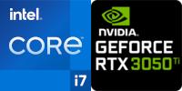 Intel® Core™ i7-11800H 8-Core Prozessor (16 Threads) 2.3GHz (4.6 GHz Turbo) 24MB Smart Cache  Nvidia GeForce RTX-3050 Ti 4096MB GDDR6 (NH55HKQ)