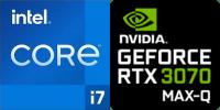 Intel® Core™ i7-11800H 8-Core Prozessor (16 Threads) 2.3GHz (4.6 GHz Turbo) 24MB Smart Cache  Nvidia GeForce RTX-3070 Max-Q 8192MB GDDR6, TGP 80W (95W max) (PC50HR)