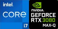 Intel® Core™ i7-11800H 8-Core Processeur (16 Threads) 2.3GHz (4.6 GHz Turbo) 24Mo Smart Cache  Nvidia GeForce RTX-3070 Max-Q 8192Mo GDDR6, TGP 80W (95W max) (PC70HS)